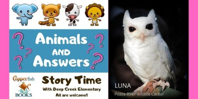 Animals and Answers graphic and Luna the Owl