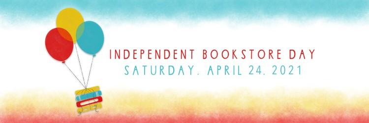 The Independent Bookstore Day logo, featuring three colored balloons tied to a stack of books, on a colorful banner