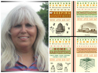 Kim Pezza with book covers
