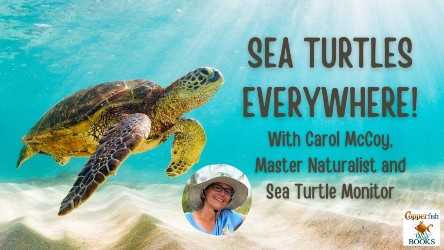"""A photo of a sea turtle in clear water with a sea blue background. Text reads """"Sea Turtles Everywhere! With Carol McCoy, Master Naturalist and Sea Turtle Monitor."""" There is a photo of Carol McCoy below the turtle, and the Copperfish Books logo on the right."""