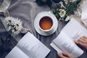 cup of tea with poetry book